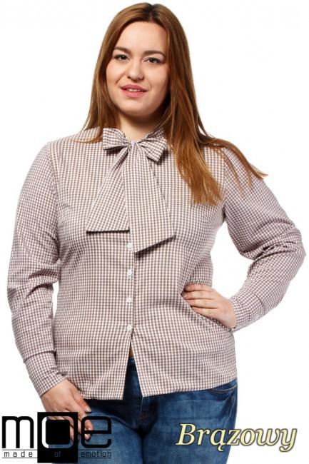 Klasyczna koszula damska z długim rękawem - brązowa