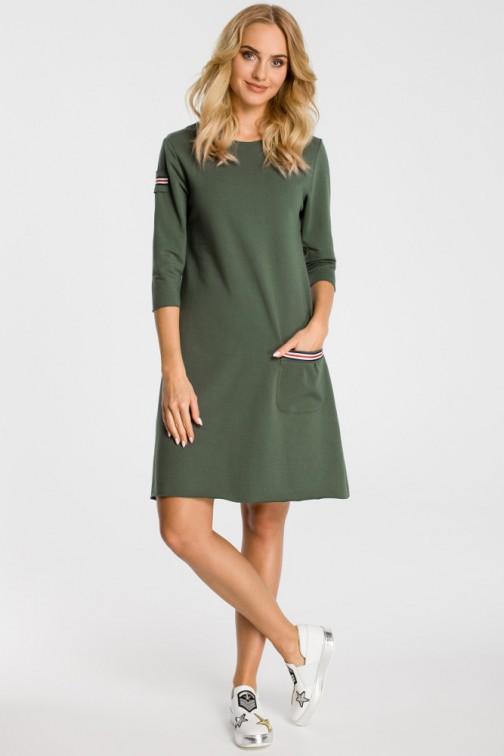 CM3308 Trapezowa sukienka z kieszenią - miliarno zielona