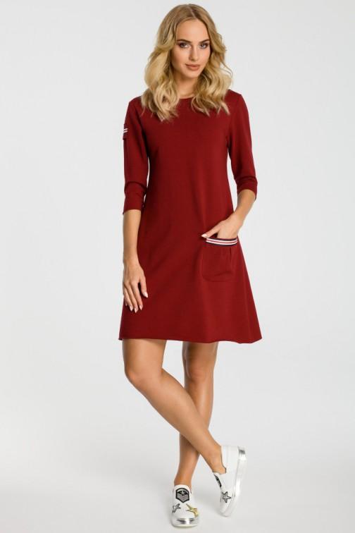 CM3308 Trapezowa sukienka z kieszenią - bordowa