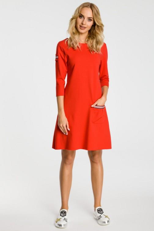 CM3308 Trapezowa sukienka z kieszenią - czerwona