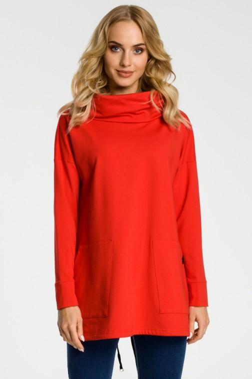 CM3309 Bluza oversize z kominem i kieszeniami - czerwona