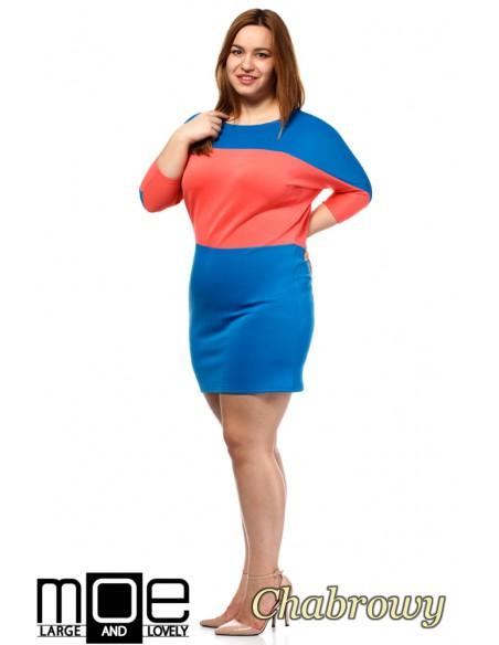 Kontrastowa sukienka neoprenowa - chabrowa
