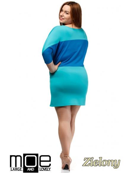 Kontrastowa sukienka neoprenowa - zielona