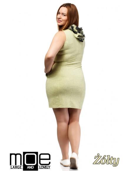 Sukienka bez rękawów z kapturem - żółta