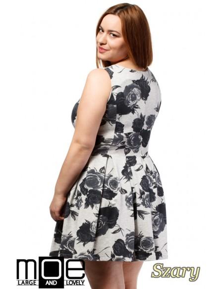 Rozkloszowana sukienka mini bez rękawów - szara