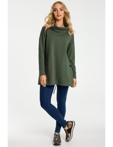 Bluza oversize z kominem i kieszeniami - militarno zielona