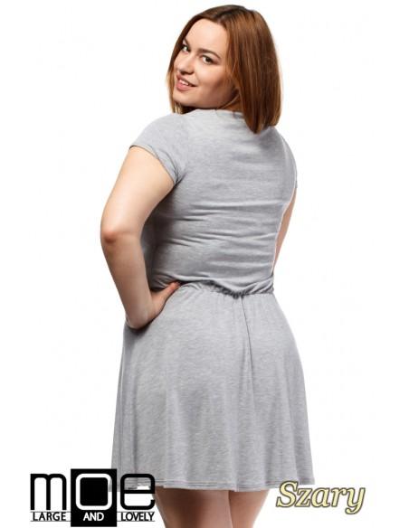 Drapowana sukienka z gumką w pasie - szara