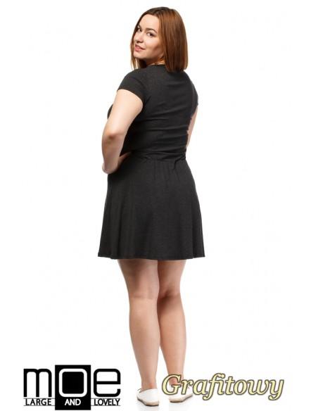 Drapowana sukienka z gumką w pasie - grafitowa