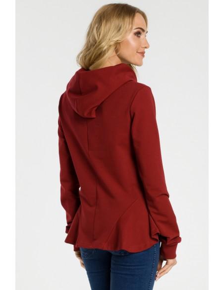 Bluza z kapturem i falbankami - bordowa