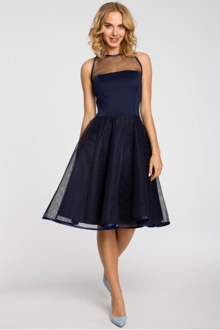 Wieczorowa sukienka z dopasowaną górą - granatowa