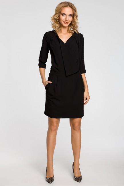 Kopertowa sukienka mini z zakładką - czarna