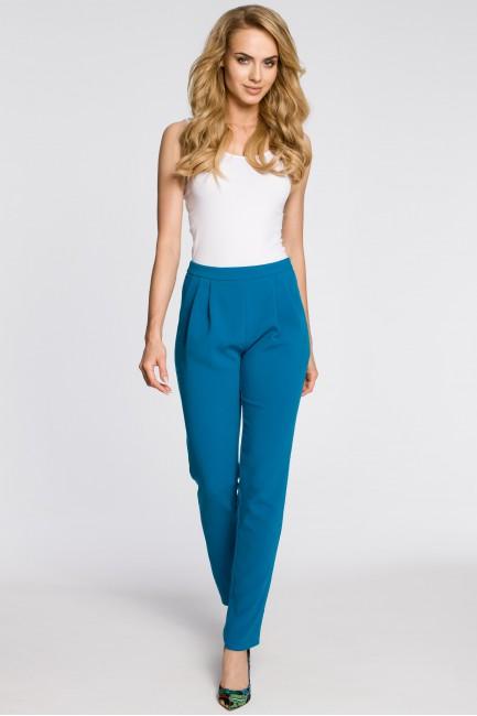 Modne spodnie damskie chinosy - turkusowe