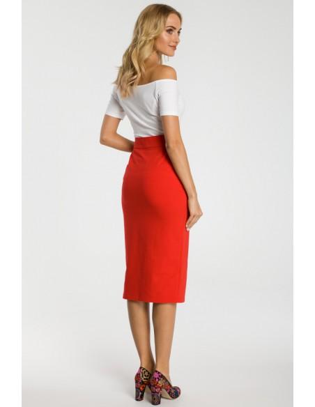 Ołówkowa spódniczka midi z zamkiem - czerwona