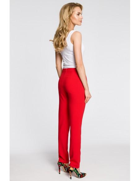 Modne spodnie damskie chinosy - czerwone