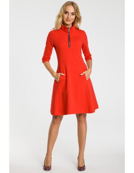 Sukienka ze stójką i zamkiem - czerwona