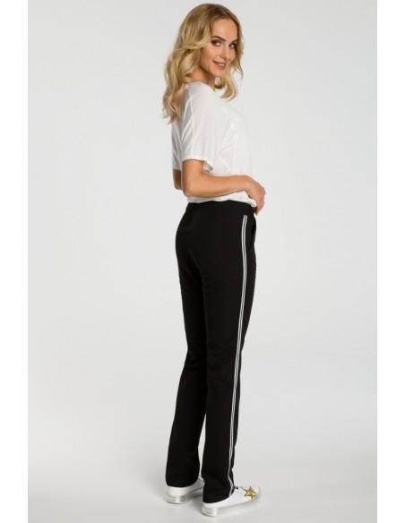 Damskie spodnie z lampasem - czarne