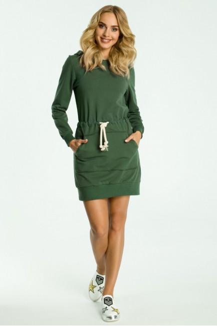 Sukienka typu kangurek - militarno zielona