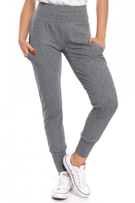 Sportowe spodnie damskie ze ściągaczem - szare