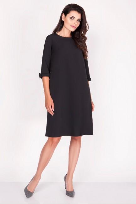 Trapezowa sukienka z kokardkami - czarna