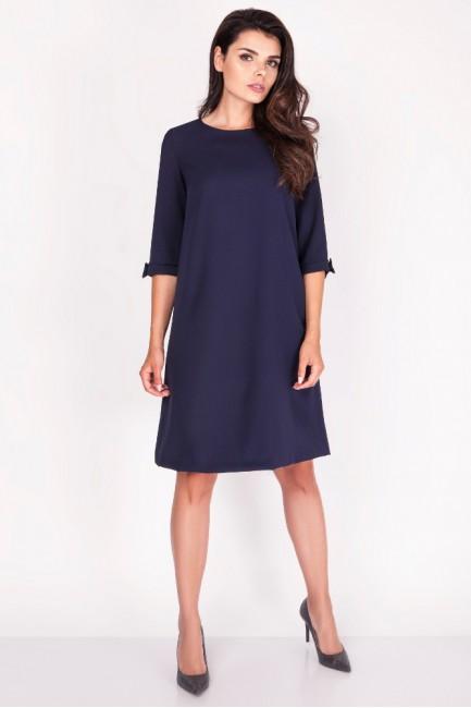 Trapezowa sukienka z kokardkami - granatowa