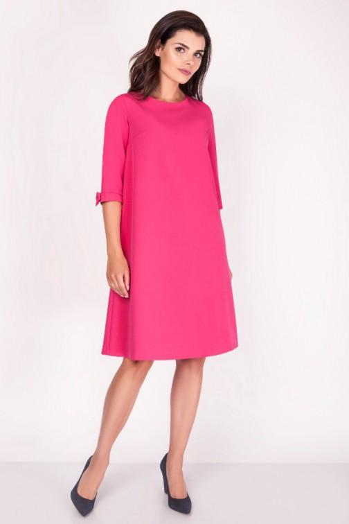 Trapezowa sukienka z kokardkami - różowa