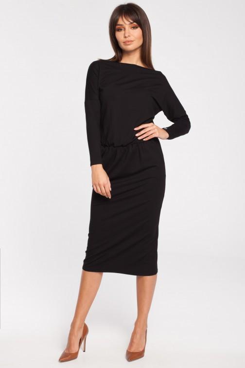 CM3052 Odcinana dopasowana sukienka z rękawem 3/4 - czarna