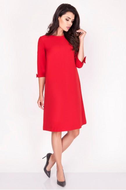 Trapezowa sukienka z kokardkami - czerwona