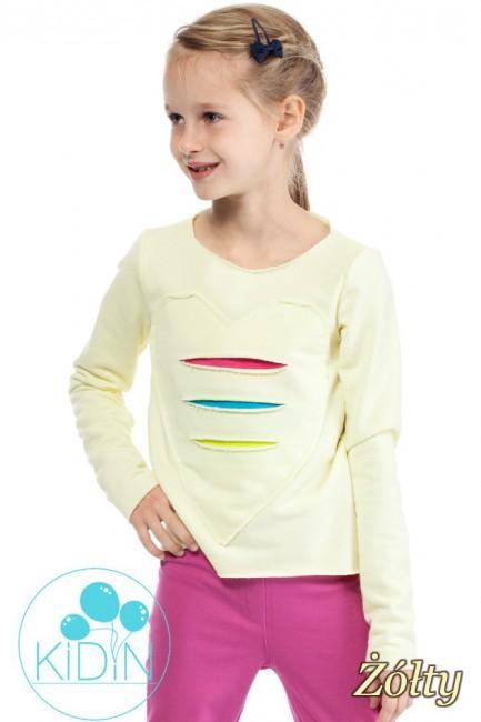 Dziewczęca dresowa bluza z sercem - żółta