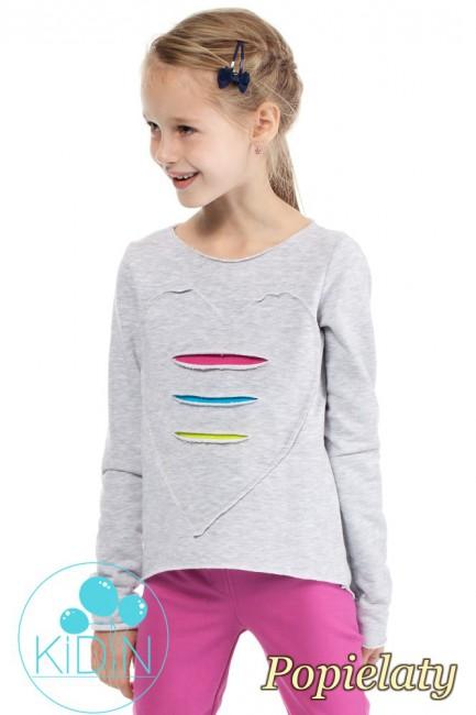 Dziewczęca dresowa bluza z sercem - popielata
