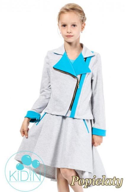 Asymetryczna spódniczka bawełniana dla dziewczynki - popielata