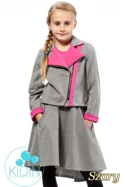 Asymetryczna spódniczka bawełniana dla dziewczynki - szara
