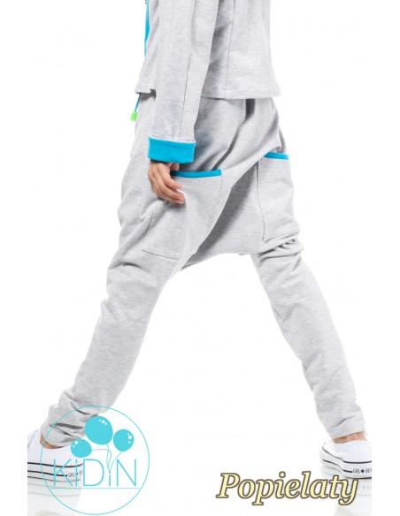 Bawełniane spodnie o kroju baggy - popielate