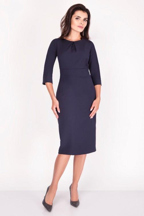 CM3371 Elegancka ołówkowa sukienka midi - granatowa