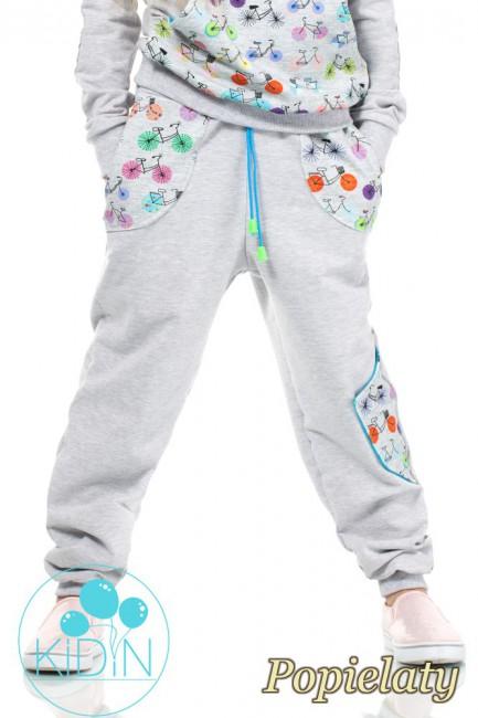 Dziecięce dresowe spodnie z dużymi kieszeniami - popielate
