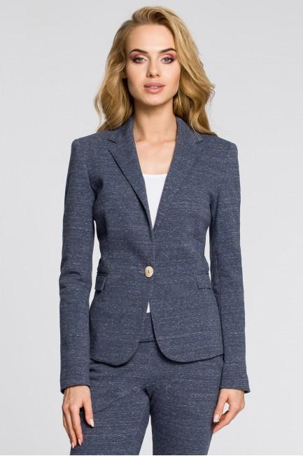 Dresowy żakiet damski w eleganckim stylu - granatowy