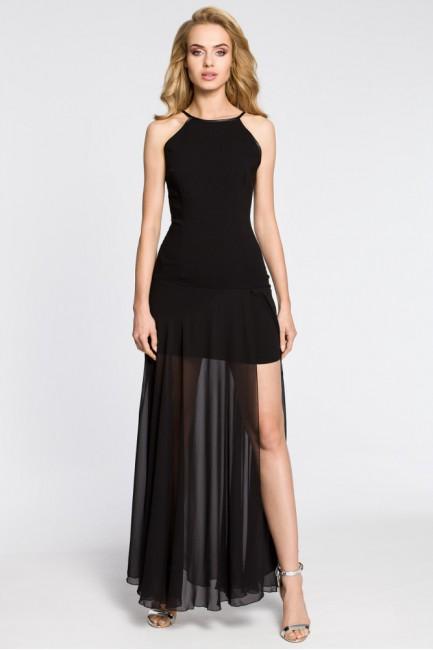 Wieczorowa sukienka maxi z tiulowym dołem - czarna