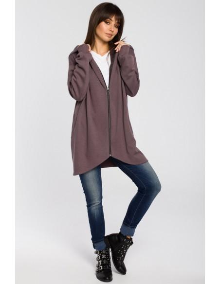 Długa zasuwana bluza z kapturem - brązowa