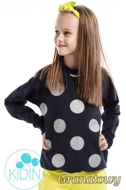 Dziewczęca bluzeczka w brokatowe koła - granatowa