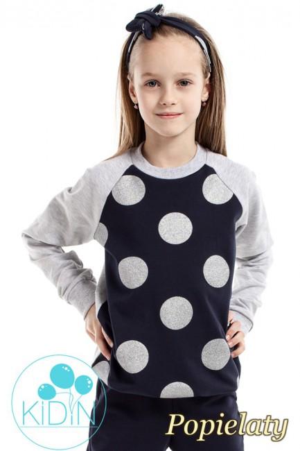 Dziewczęca bluzeczka w brokatowe koła - popielata