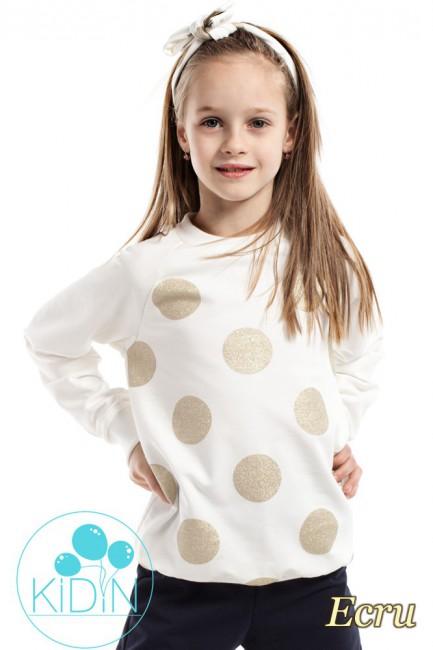 Dziewczęca bluzeczka w brokatowe koła - ecru