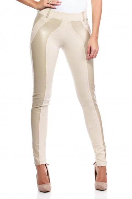 Włoskie legginsy ze skórzaną wstawką- ecru