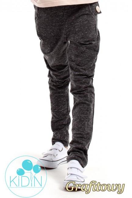 Dziecięce spodnie rurki z ozdobnymi guzikami - grafitowe