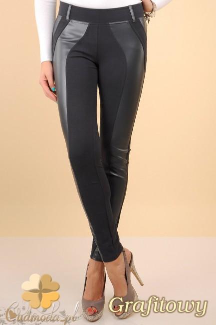 Włoskie legginsy ze skórzaną wstawką- grafitowe