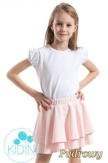Nowoczesna spódniczka dziecięca z podwójną falbanką - pudrowa