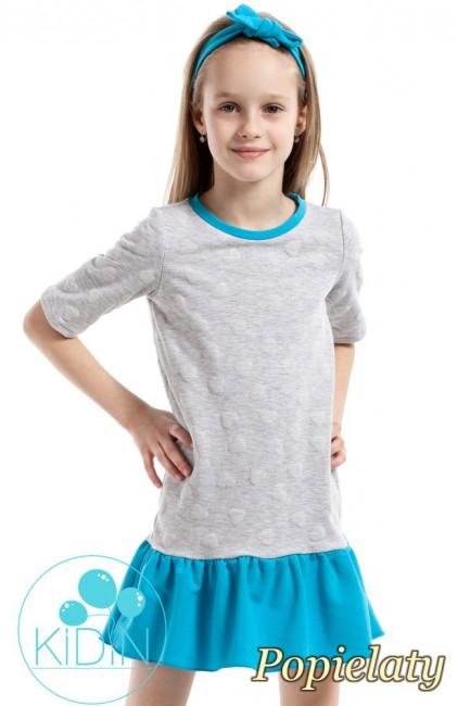 Dziewczęca sukienka z nadrukiem w wystające serduszka - popielata