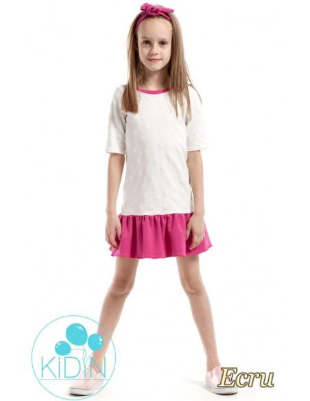 Dziewczęca sukienka z nadrukiem w wystające serduszka - ecru