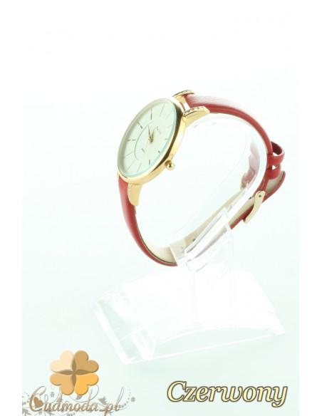 Elegancki zegarek damski z cyrkonami - czerwony