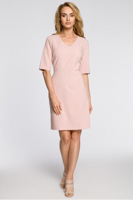 Ołówkowa sukienka z krótkim rękawem - pudrowa