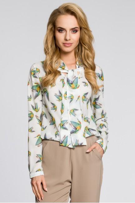 Kobieca bluzka koszulowa z kolibrami - ecru
