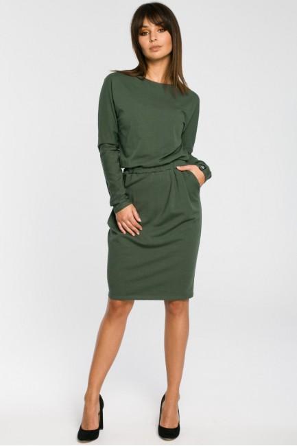 Sukienka z gumą w pasie i długimi rękawami - militarno-zielona